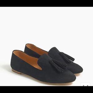 J.Crew Black Microsuede Smoking Tassel Loafers